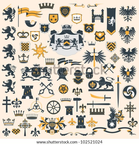 Big vector collection - Heraldic Design Elements - stock vector