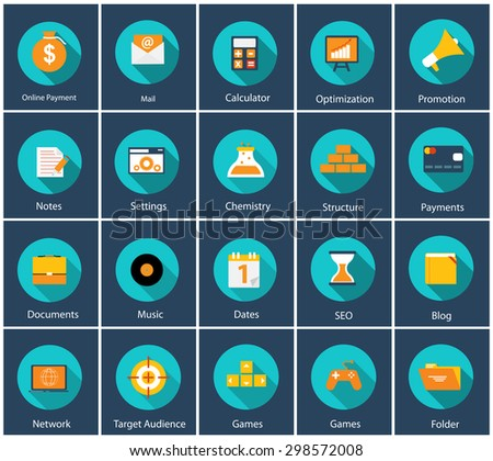 Big Vector Collection of Flat Business and Finance Icons with Long Shadows. Modern  Design Elements for Web and Mobile Applications. EPS10 - stock vector