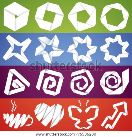 Big vector collection of paper origami symbols of stars, shapes, spirals and objects