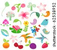 Big vector elements set. Birds, fruits and flowers for your design - stock vector