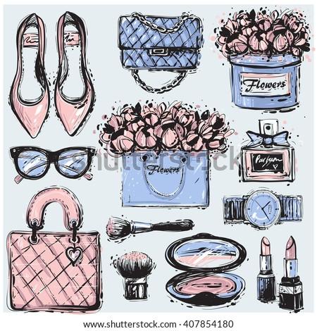 Big vector fashion sketch set. Hand drawn graphic shoes, bag, makeup brush, lipstick, powder, wrist watch, perfume, flower box, eye glasses, flowers. Trend glamour fashion illustration kit vogue style - stock vector
