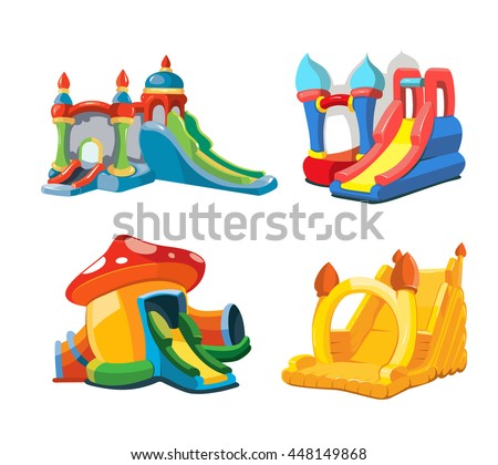 big Vector illustration set of inflatable castles and children hills on playground. Pictures isolate on white background - stock vector