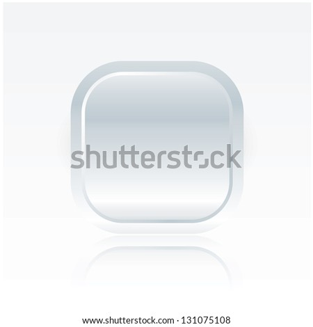 Big vector minimalistic website button. Space for your content. White - blue fresh color. Button with reflection. Luxury feel. - stock vector