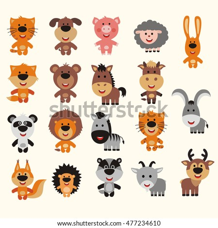 Big vector set animals. Collection of isolated animals in cartoon style. Smiling animals: forest, asia, africa, farm, domestic