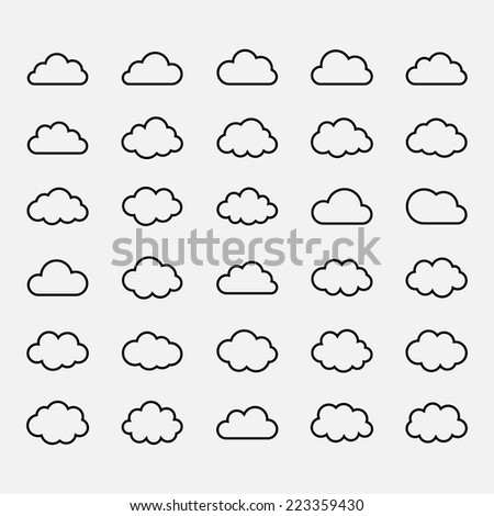 Big vector set black cloud shapes, cloud icons for web and app, for cloud computing and so on over white - stock vector
