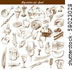 big vector set : doodle - food - stock vector