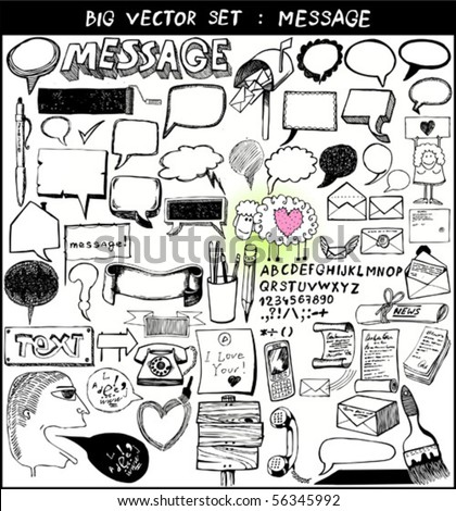 big vector set : message - stock vector