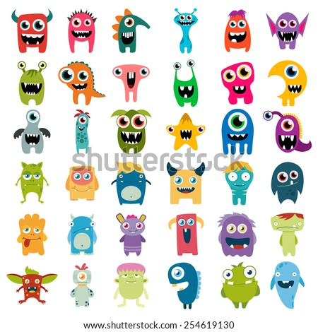 big vector set of cartoon cute monsters - stock vector