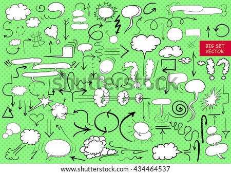 Big vector set of comic elements, hand drawn, arrows, doodle and comic blank 