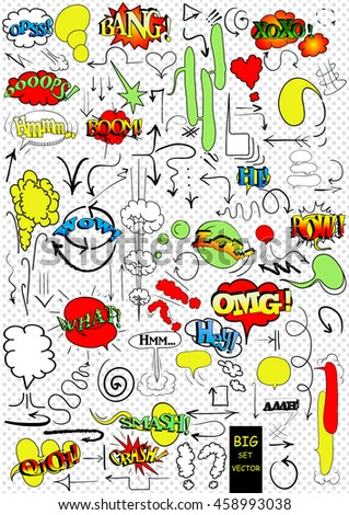 Big vector set of comic elements, hand drawn, arrows, doodle and comic blank text speech clouds in pop art style - stock vector