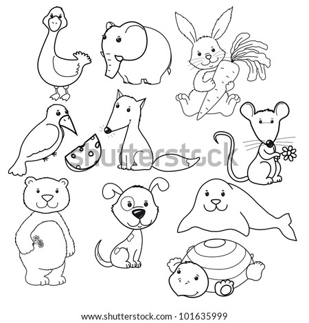Big Vector Set Of Cute Animalss Contours Coloring Book