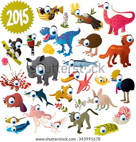 big vector set of cute funny comic cartoon animals, fish, birds and dinosaurs for apps, books, cards or stickers - stock vector