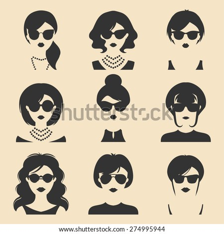 Big vector set of different women app icons in sunglasses in flat style - stock vector