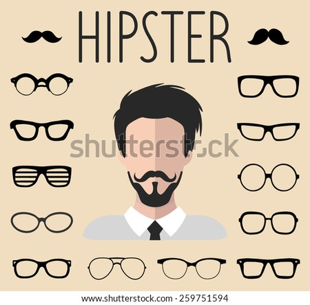 Big vector set of dress up constructor with different men hipster glasses, mustache in trendy flat style. Flat man faces icon creator - stock vector