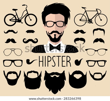 Big vector set of dress up constructor with different men hipster haircuts, glasses, beard, mustache, bikes in trendy flat style. Flat man faces icon creator - stock vector