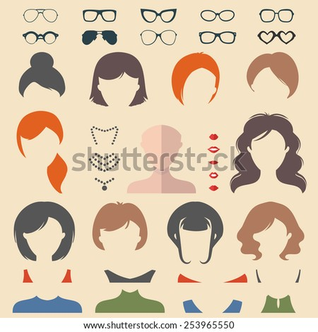 Big vector set of dress up constructor with different woman haircuts, glasses, lips, wear, jewellery in trendy flat style. Flat faces icon creator - stock vector