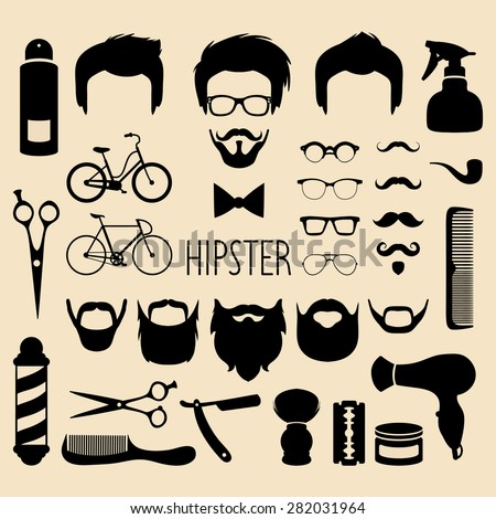 Big vector set of dress up with different men hipster haircuts, glasses, beard, mustache and  barber icons in trendy flat style. Flat app man faces icon creator with barbershop elements - stock vector