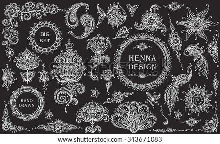 Henna Mehndi Vector : Big vector set henna floral animal stock 2018 343671083