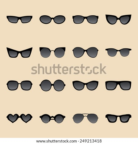 Big vector set of icons of different shapes sunglasses in trendy flat style - stock vector