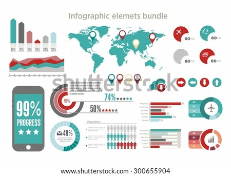 Big Vector set of Infographics elements for your documents and reports, collection of bages and pins, world map - stock vector