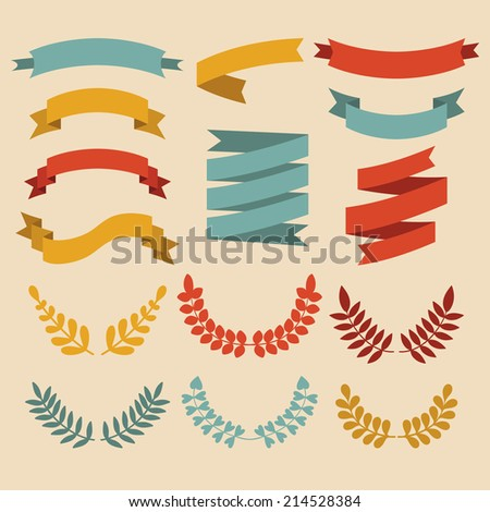 Big vector set of laurels and ribbons in modern flat style - stock vector