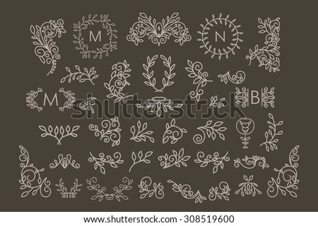 Big Vector set of line floral design elements for logos, frames and borders in modern style. Good for wedding invitations, page decoration, monogram designs e.t.c. - stock vector