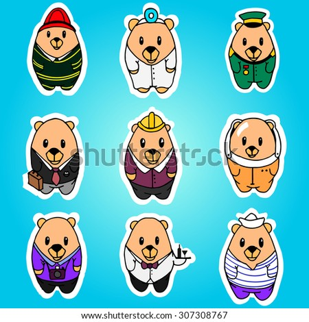 Big vector set of nine cartoon bears, different professions. Doctor, engineer, businessman, astronaut, waiter, photographer, sailor, soldier, firefighter. Hand drawing characters for you design.