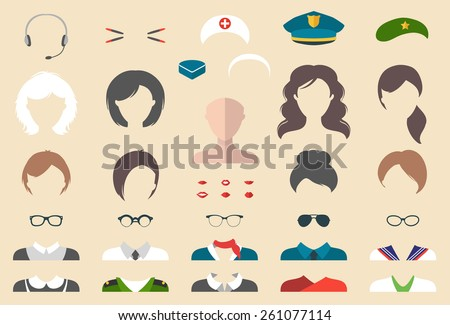 Big vector set of professions dress up constructor with different woman occupation, glasses, lips, hairstyles, hats, wear in trendy flat style. Flat female professions icon creator - stock vector