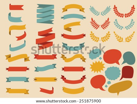 Big vector set of ribbons, laurels and speech bubbles in  flat style - stock vector