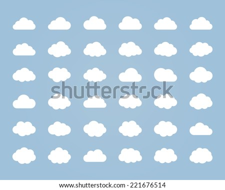 Big vector set of thirty-six white cloud  shapes, cloud icons for web and app, for cloud computing and so on - stock vector