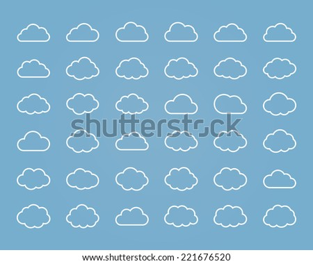 Big vector set of thirty-six white line cloud  shapes, cloud icons for web and app, for cloud computing and so on - stock vector