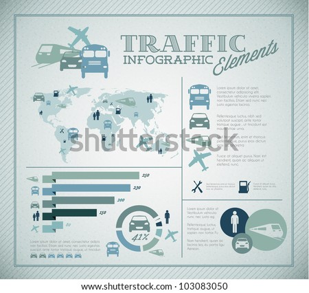 Big Vector set of Traffic Infographic elements for your documents and reports - stock vector
