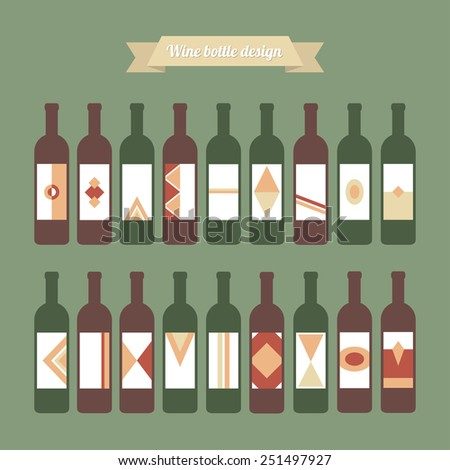 Big vector set of wine bottles with different colorful labels. Green and red glass on green background.