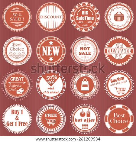 Big vintage sale labels collection. Design elements, labels, badges and icons for sale    - stock vector