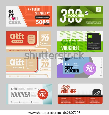 Two Coupon Vouchers Design Gift Voucher Stock Vector