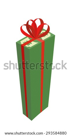 Big wad of money with red bow. High Pile Of Dollars. Gift money. Vector illustration
