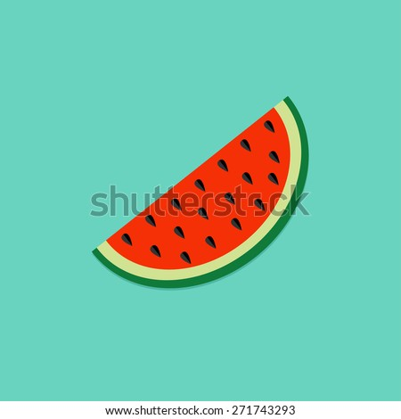 Big watermelon slice cut with seed Flat design icon Summer blue background Vector illustration