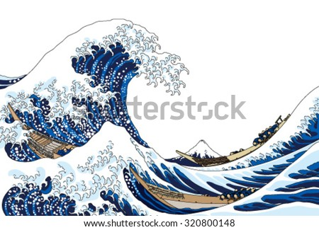 big wave - stock vector