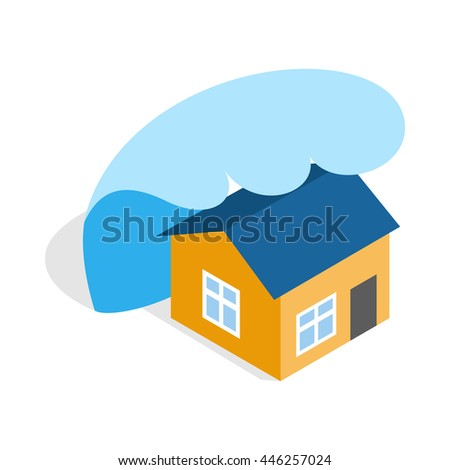 Big wave of tsunami over the house icon in isometric 3d style on a white background - stock vector