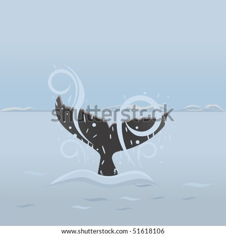 Big whale diving under water. Background with sea life - stock vector