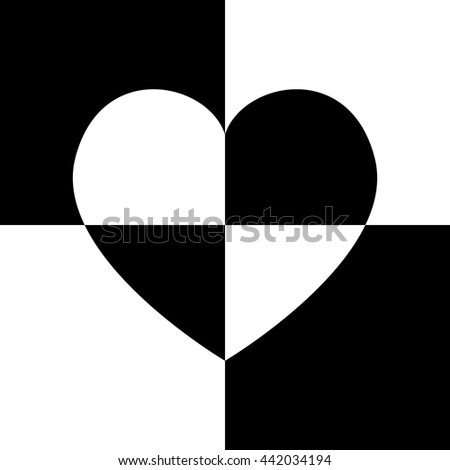 Big white and black Heart, Isolated On White and black chess Background, Vector Illustration - stock vector