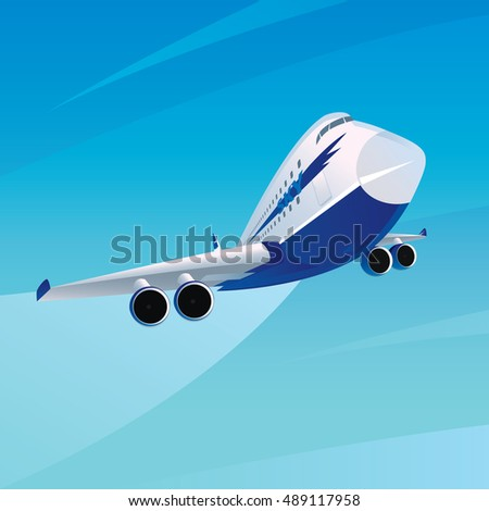 Big white blue modern passenger plane in flight. On the side there is an inscription sky. Behind the aircraft trail. Fair weather. Front view. Vector illustration