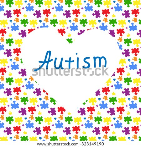 Big white heart with a blue sign with autism and the combination colorful puzzles on a white background. Symbol of autism. New iridescent colorful original vector illustration - stock vector