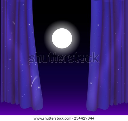 big white moon between two curtain like night sky, fairy night window, night view - stock vector