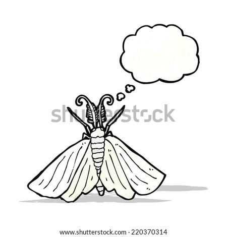 big white moth illustration - stock vector