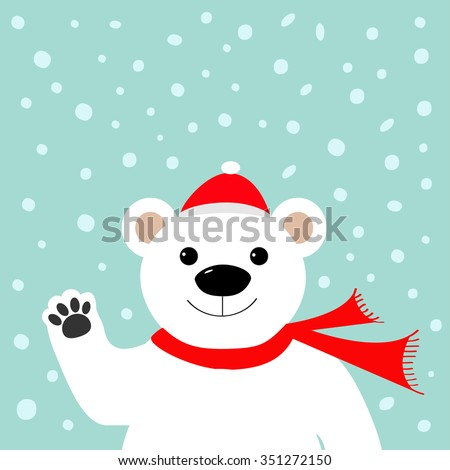 Big white polar bear in santa claus hat and scarf, waving hand paw.  Merry Christmas Greeting Card. Blue background with snow. Flat design Vector illustration - stock vector