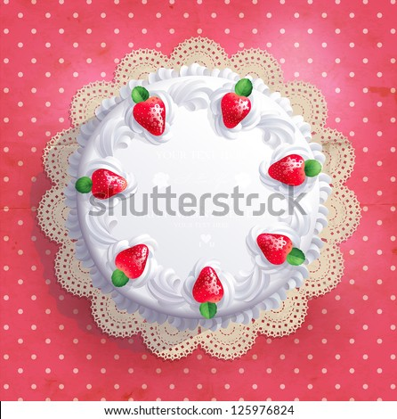 Big white wedding cake with cream and strawberries and free space for your text - stock vector