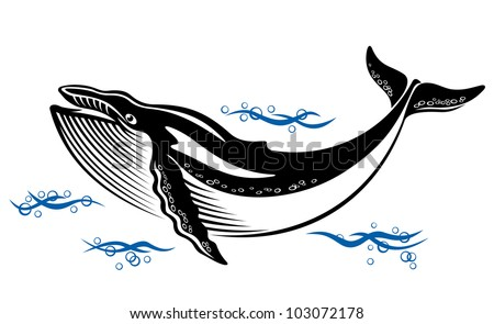 Big wild whale in ocean water in retro style. Jpeg version also available in gallery - stock vector