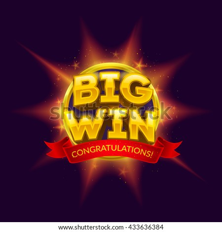 Big Win banner with red ribbon for your text. Vector illustration. - stock vector