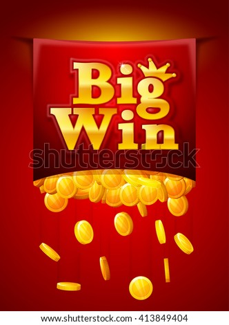 Big win poster with falling golden coins. Big Win banner. playing cards, slots and roulette. - stock vector